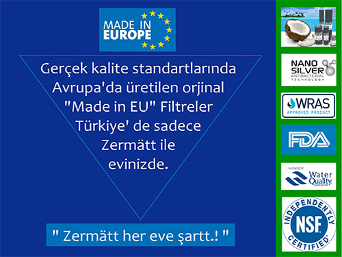 Su artıma filtreleri Avrupa dan ithal Zermatt Made in EU